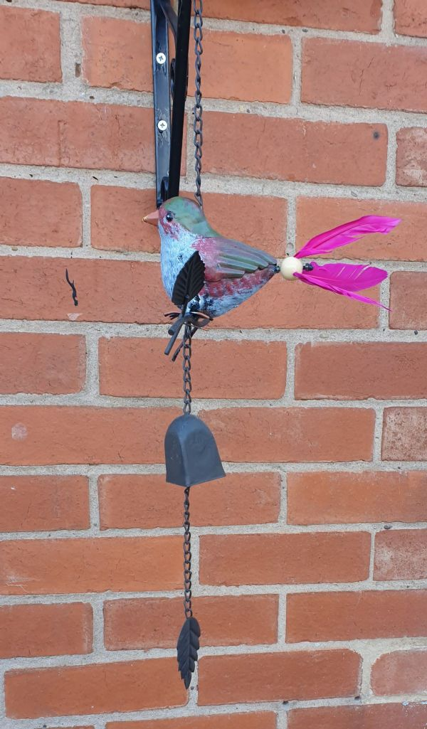 Feathered tail bird mobile windchime (pink)